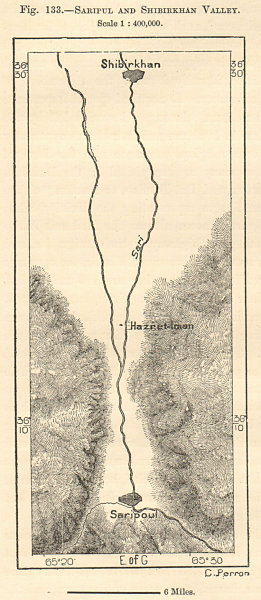Associate Product Saripul & Sheberghan. Sari River valley, Afghanistan. Sketch map 1885 old