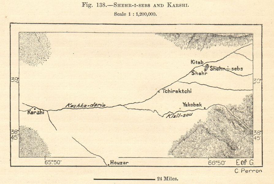 Associate Product River Kashkadaria. Qarshi, Shahrisabz & Kitab. Uzbekistan. Sketch map 1885