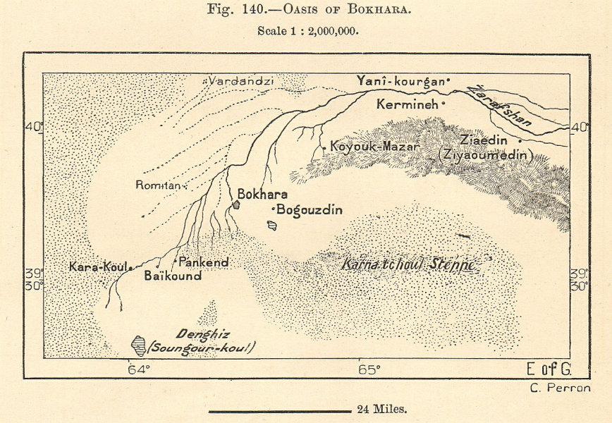 Associate Product Bukhara & environs. River Zeravshan Kermineh Karmana Uzbekistan. Sketch map 1885