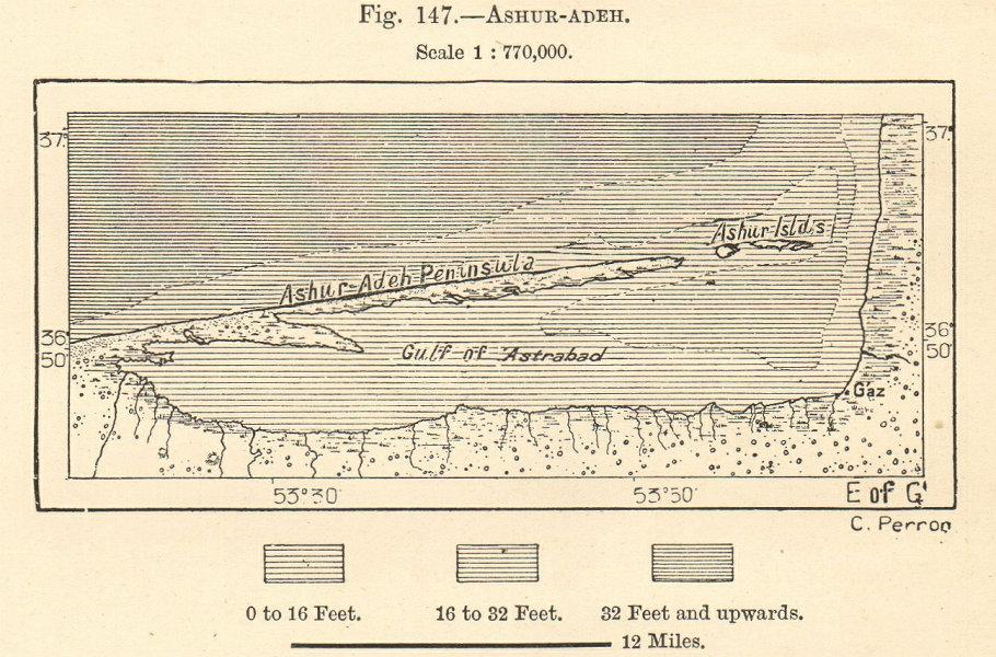 Associate Product Gorgan Gulf & Ashooradeh island, Caspian Sea. Iran. Sketch map. SMALL 1885