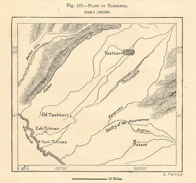 Associate Product Tashkent plain. Syr Darya river. Uzbekistan Kazakhstan. Sketch map 1885
