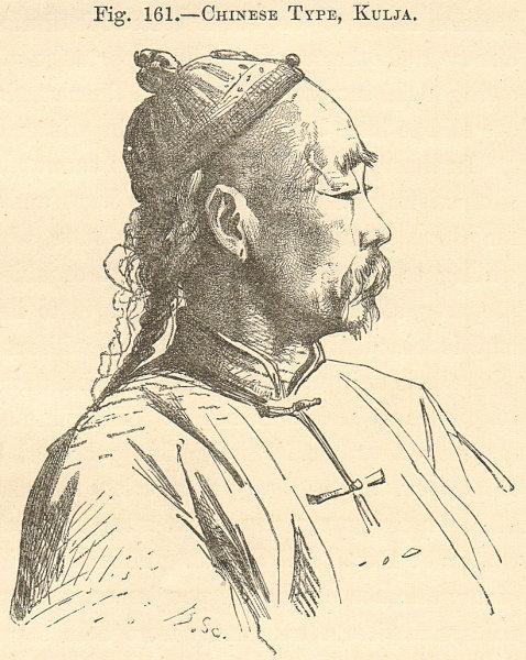 Associate Product Elderly Chinese man, Kulja (Ghulja), Xinjiang, China. SMALL 1885 old print
