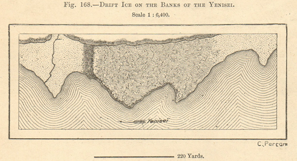 Associate Product River Yenisei, river bank drift ice, Siberia. Russia. Sketch map. SMALL 1885