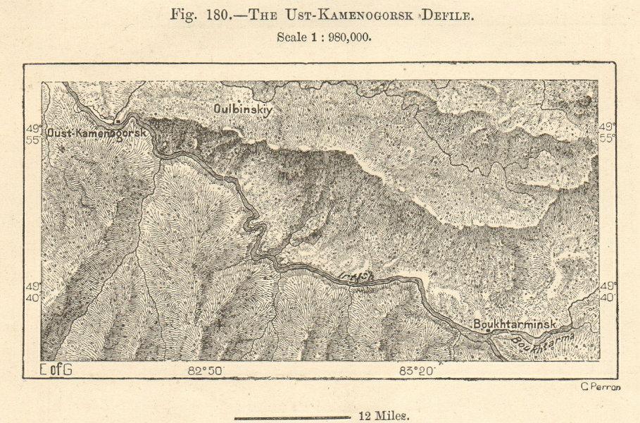 Associate Product River Irtysh. Ust-Kamenogorsk - Bukhtarma, Kazakhstan. Sketch map 1885 old