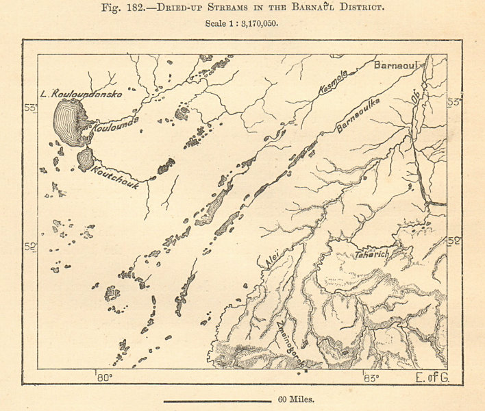 Associate Product Barnaul District. Lake Kulundinskoye, Siberia, Russia. Sketch map 1885 old