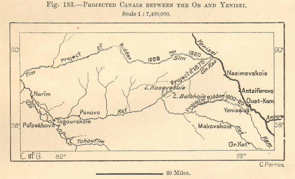 Associate Product Projected Ob–Yenisei (Ket-Kas) Canals Narym Siberia. Sketch map. SMALL 1885