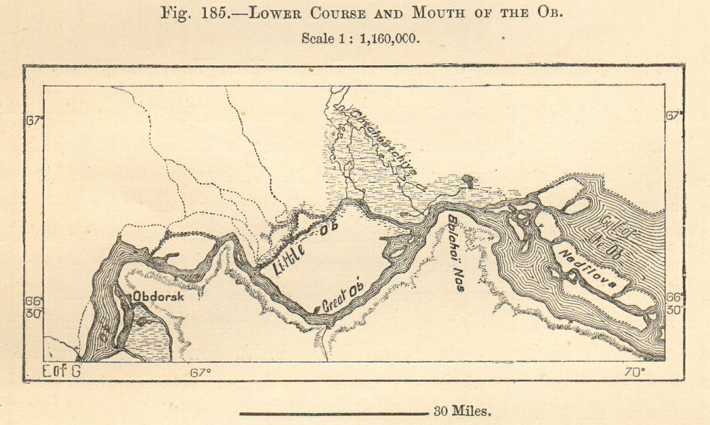 Associate Product Lower Ob River. Obdorsk (Salekhard) Nadilova, Siberia. Sketch map. SMALL 1885