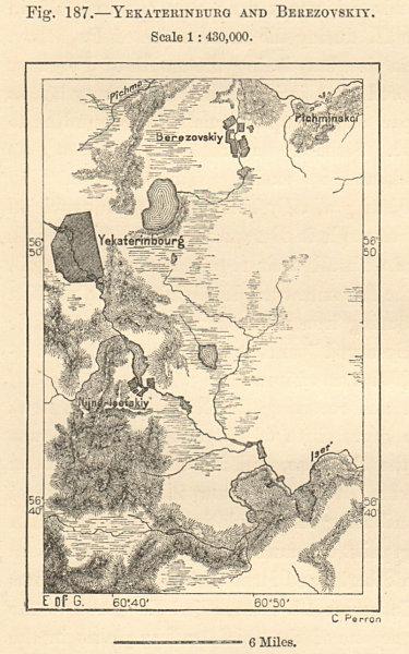 Associate Product Yekaterinburg & Beryozovsky environs, Siberia Russia. Sketch map. SMALL 1885