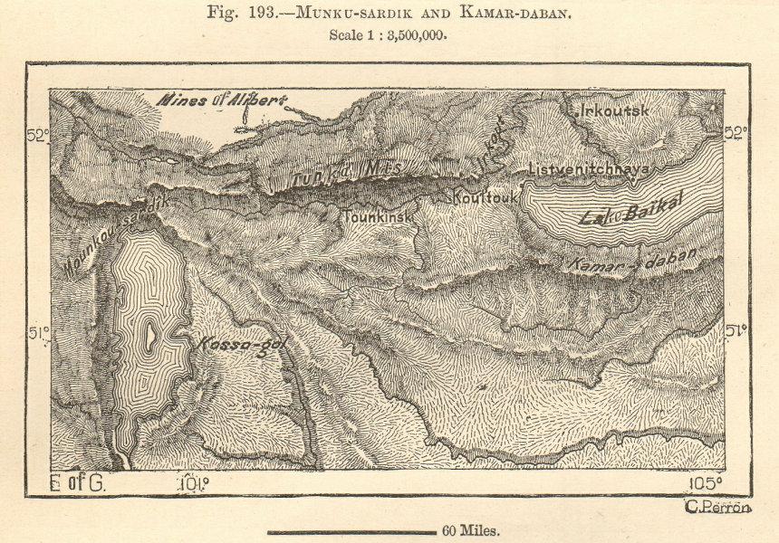 Associate Product Lakes Baikal & Khovsgol. Tunka mountains. Russia Mongolia. Sketch map 1885