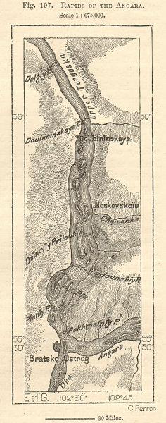 Associate Product Rapids of the Angara river. Oka Dubynino Bratsk Siberia Russia. Sketch map 1885