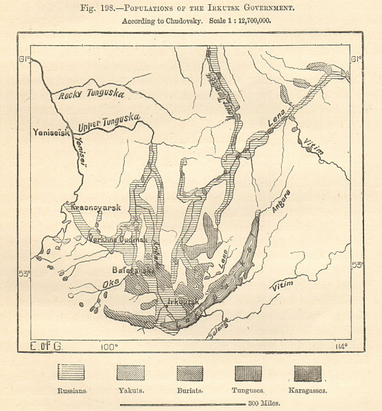 Associate Product Irkutsk ethnic. Russian Yakut Burita Tunguse Karagass. Siberia. Sketch map 1885