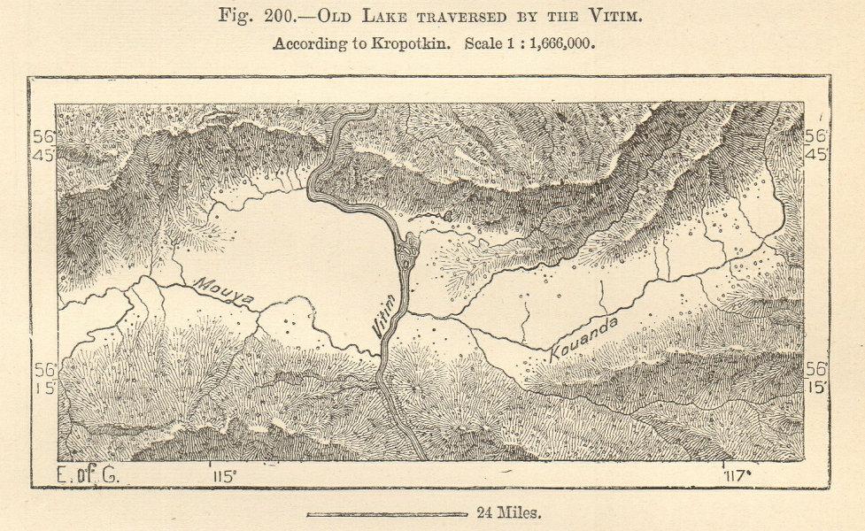 Associate Product Old lake traversed by the Vitim river Muya Kuanda Siberia Russia Sketch map 1885