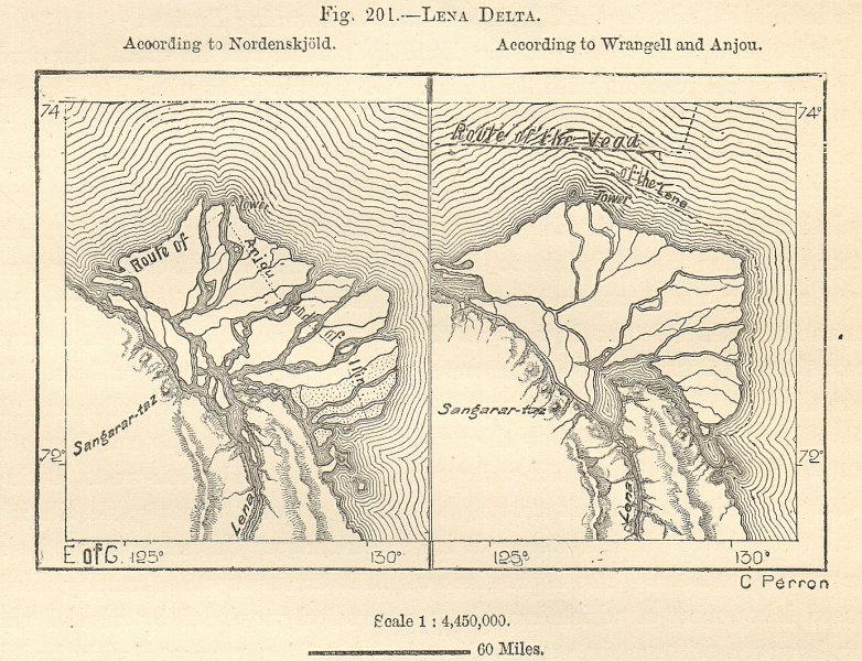Associate Product River Lena delta, Laptev Sea, Siberia, Russia. Comparative sketch map 1885