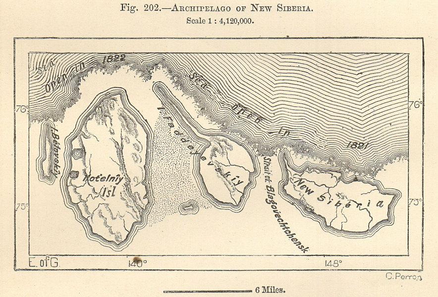 Associate Product Lyakhovsky Islands, East Siberian & Laptev Sea, Siberia. Russia. Sketch map 1885
