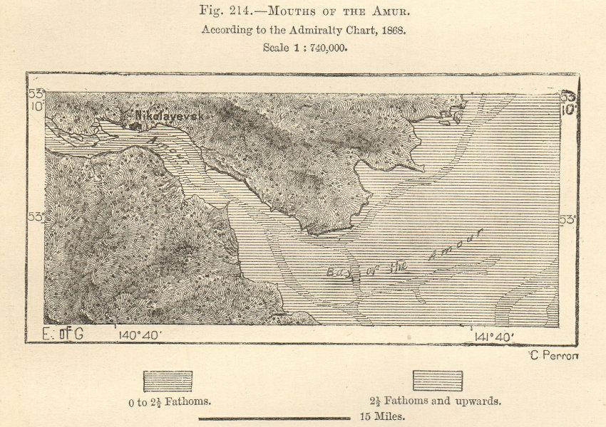 River Amur estuary, Nikolayevsk, Siberia, Russia. Russia. Sketch map 1885
