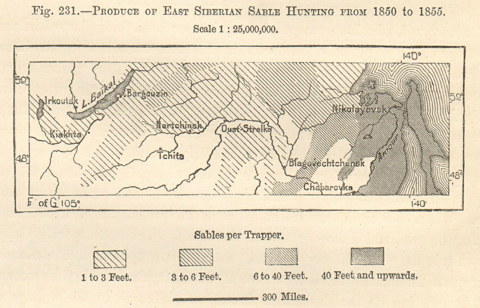Associate Product East Siberian Sable Hunting 1850-55. Fur trapping Russia. Sketch map. SMALL 1885