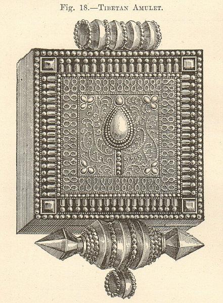 Associate Product Tibetan Amulet. Ornament Buddhism. China. Decorative. SMALL 1885 old print