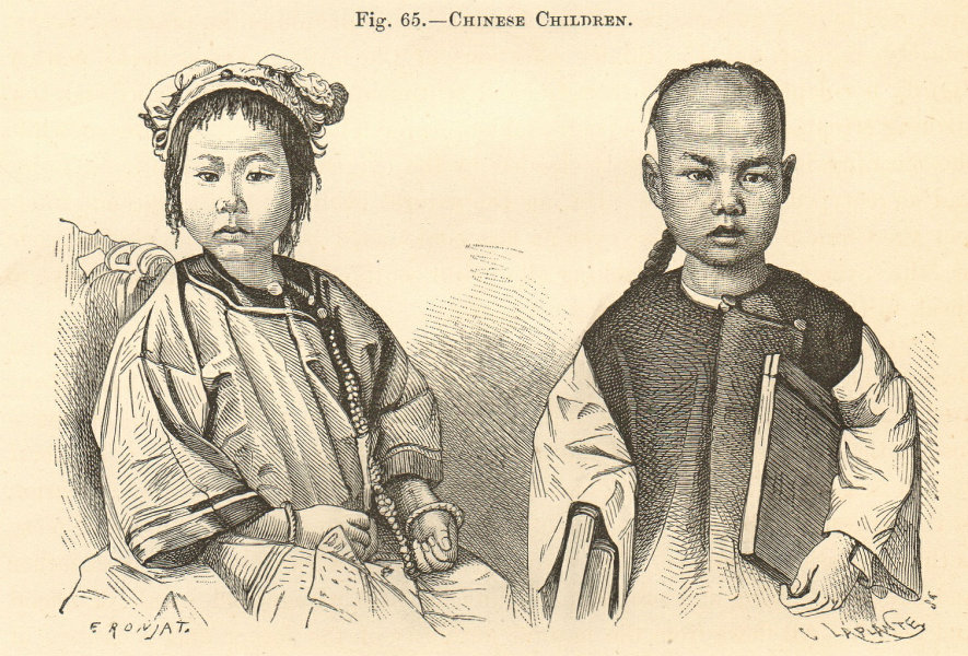 Associate Product Chinese Children. Costumes. Boy & girl. China. Family 1885 old antique print