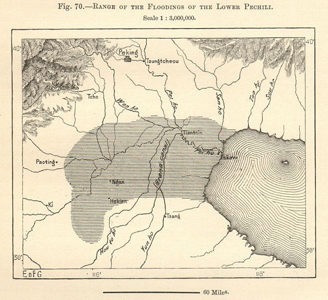 Associate Product Pechili flood plain. Pei Ho (Hai) river. Tianjin Beijing China sketch map 1885
