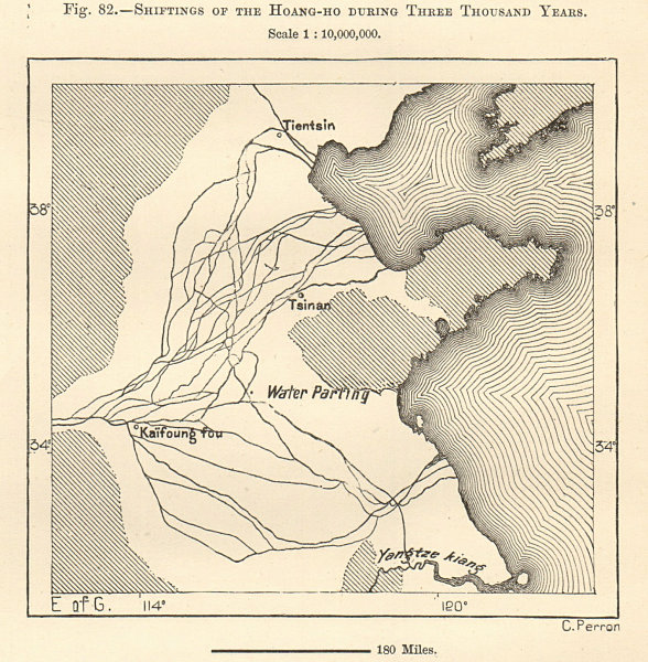 Associate Product Shift in course of the Yellow River during 3000 yrs. China. Sketch map 1885