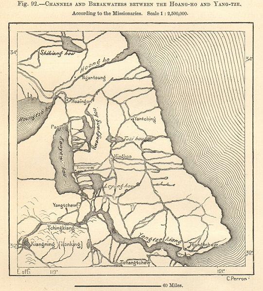 Associate Product Channels & breakwaters between Feihuang & Yangtze rivers. China. Sketch map 1885