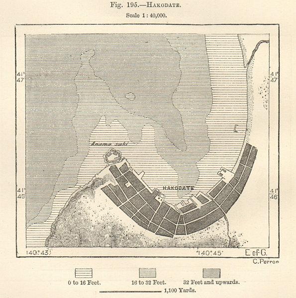 Associate Product Hakodate, Hokkaido, Tsugaru Straits, town city plan. Japan 1885 old map