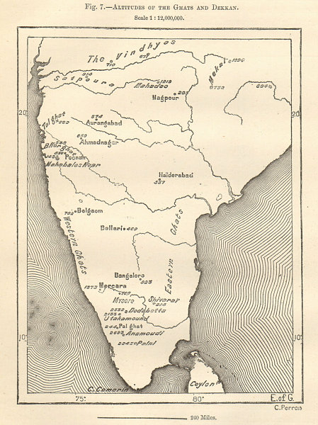 Associate Product Deccan Plateau, Eastern & Western Ghats altitudes. India. Sketch map 1885