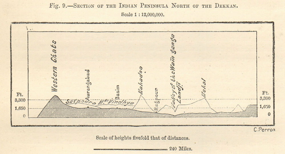 Associate Product India section North of the Deccan Plateau. Western Ghats Nagpur Aurangabad 1885