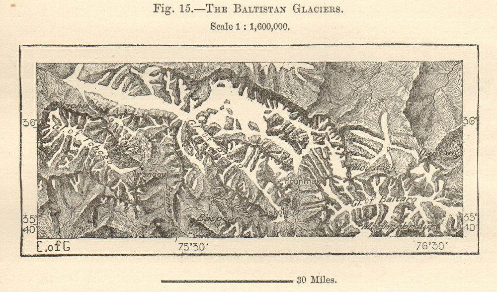 Associate Product Baltistan Glaciers. Biafo Chogo Baltoro Himalayas Pakistan China sketch map 1885