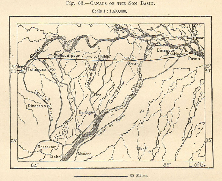 Associate Product Canals of the Son Basin. Patna Ganges India. Sketch map 1885 old antique