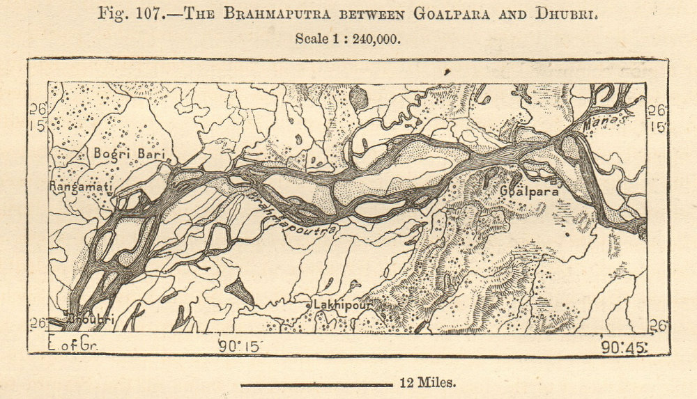 Associate Product Brahmaputra river between Goalpara & Dhubri. Assam. Sketch map. SMALL 1885