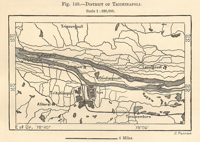 Associate Product District of Trichinapoli. Tiruchirappalli, Tamil Nadu. India. Sketch map 1885