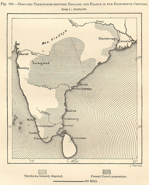 Associate Product India. England & France disputed territories 18th century. Sketch map 1885