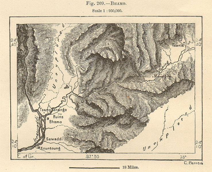 Associate Product Bhamo & environs. Sampanago ruins. Burma. Myanmar. Sketch map 1885 old