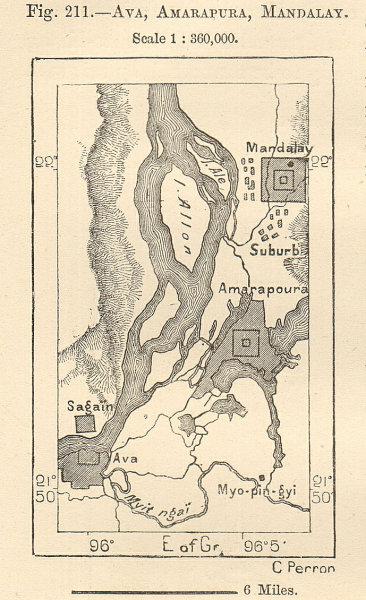 Associate Product Ava (Inwa), Amarapura & Mandalay. Burma Myanmar. Sketch map. SMALL 1885