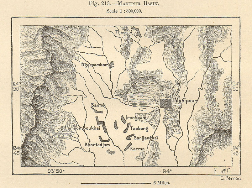Associate Product Manipur Basin. Imphal & environs. India. Sketch map 1885 old antique chart