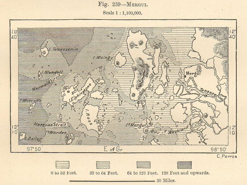 Associate Product Myiek & the Mergui Archipelago, Burma. Myanmar. Sketch map 1885 old