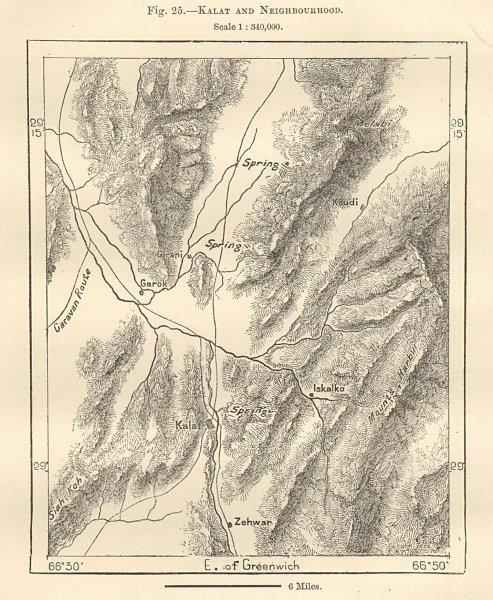 Kalat and Neighbourhood. Pakistan. Sketch map 1885 old antique plan chart