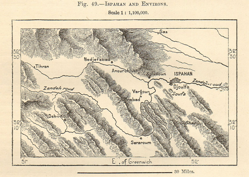 Details about Isfahan and environs. Ispahan. Iran Persia. Sketch map 1885  old antique