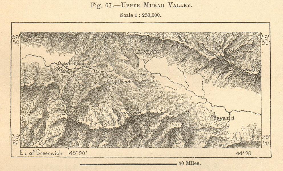 Associate Product Upper Murat Valley. Balik Golu Diyadin Agri/Outch Kilisa Turkey. sketch map 1885