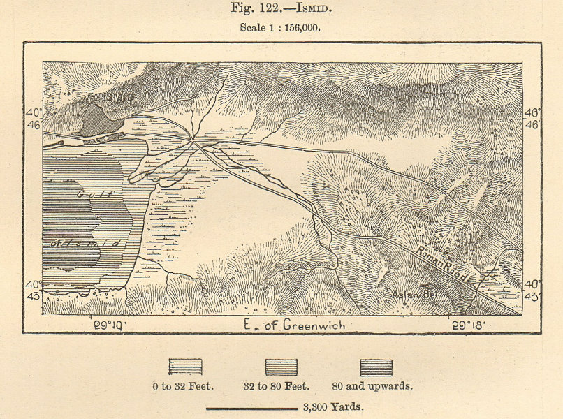 """Associate Product Izmit & environs. """"Ismid"""". Turkey. Sketch map 1885 old antique plan chart"""