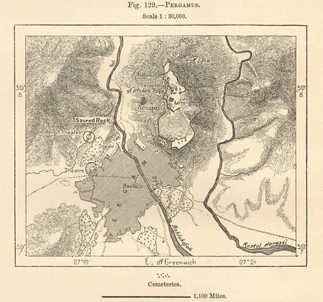 "Bergama & the ruins of Pergamon. ""Pergamus"". Turkey. Sketch map 1885 old"