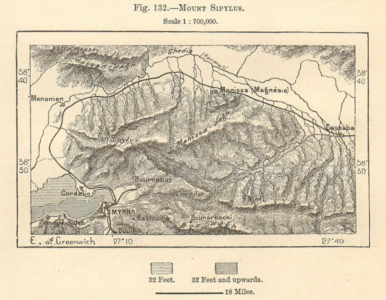 "Associate Product Mount Yamanlar & Izmir (Smyrna). ""Mount Sipylus"". Turkey. Sketch map 1885"