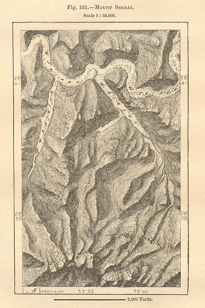 Associate Product Mount Serbal. Sinai. Egypt. Sketch map 1885 old antique vintage plan chart