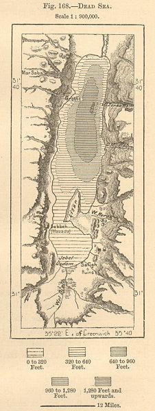Associate Product Dead Sea. Middle East. Wadi Almujib. Israel Jordan. Sketch map 1885 old