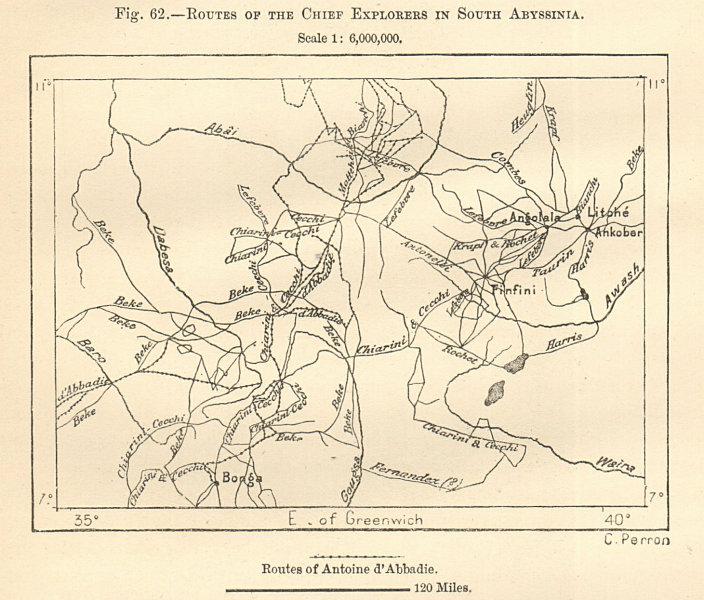 Explorers' routes South Ethiopia. Bonga-Finfini (Addia Ababa). Sketch map 1885