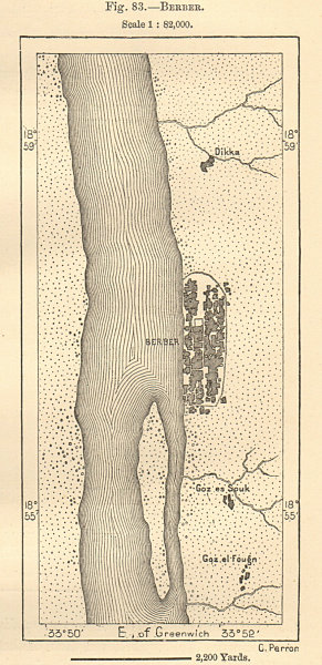 Associate Product Town of Berber, on the Nile. Sudan. Sketch map 1885 old antique plan chart
