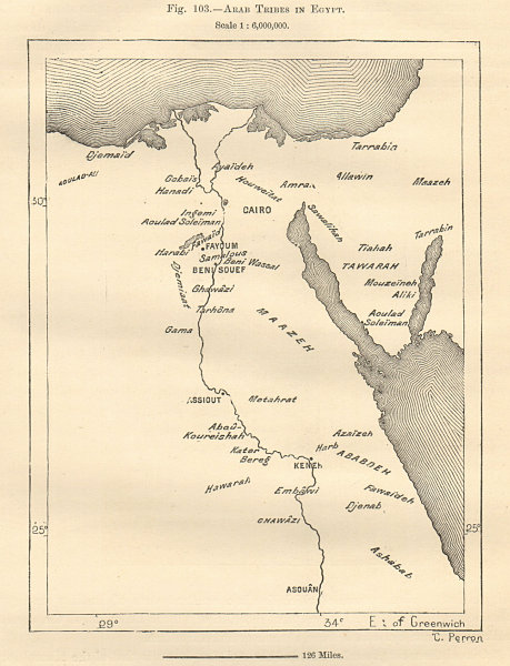 Associate Product Arab Tribes in Egypt sketch map 1885 old antique vintage plan chart
