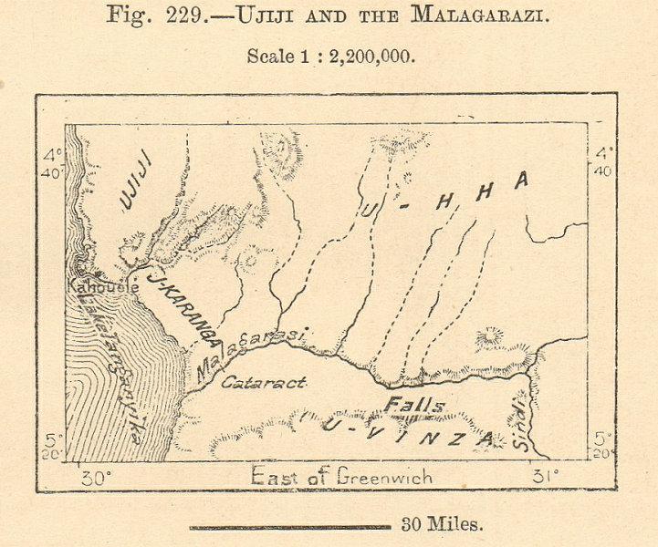 Associate Product Ujiji and the Malagarasi river. Tanzania sketch map. Tanganyika. SMALL 1885