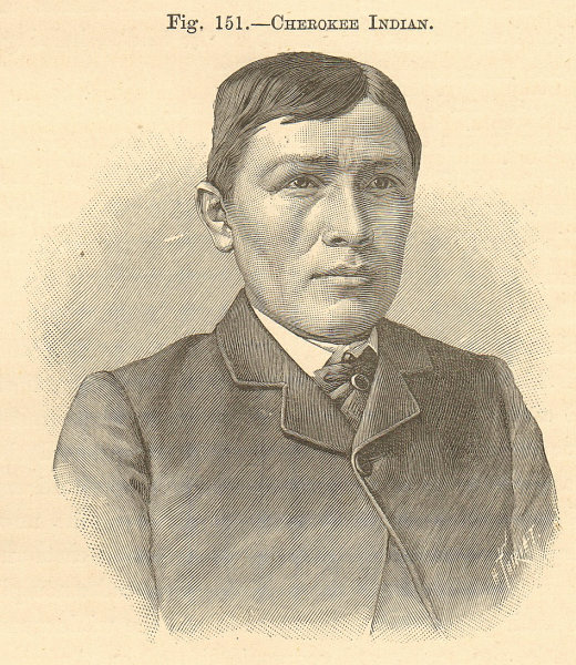 Associate Product Cherokee Indian wearing a suit. Native American Indian. SMALL 1885 old print